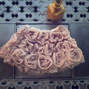 Baby Gap Silk Chiffon Floral Beige Girls Skirt